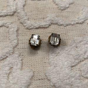 Sorrelli CZ emerald cut stud earrings